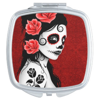 Deep Red Day of the Dead Sugar Skull Girl Makeup Mirrors