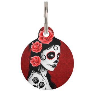 Deep Red Day of the Dead Sugar Skull Girl Pet Tag