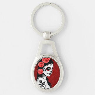 Deep Red Day of the Dead Sugar Skull Girl Key Chain