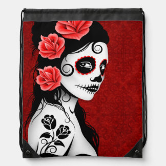 Deep Red Day of the Dead Sugar Skull Girl Cinch Bags
