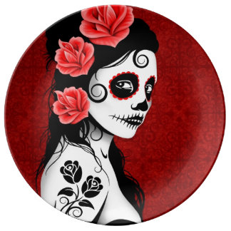 Deep Red Day of the Dead Sugar Skull Girl Porcelain Plate