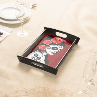Deep Red Day of the Dead Sugar Skull Girl Serving Tray