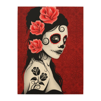 Deep Red Day of the Dead Sugar Skull Girl Wood Wall Art