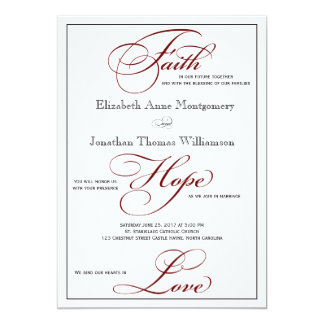 Deep Red Faith Hope Love Script Wedding Invitation