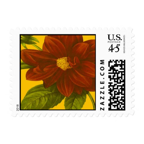 Deep Red Floral Postage Stamps