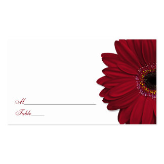 Deep Red Gerber Daisy Wedding Place Cards Double-Sided Standard Business Cards (Pack Of 100)