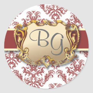 Deep Red & Gold Elegant Wedding Envelope Seal - 2