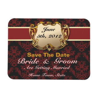 Deep Red & Gold - Save The Date Flex Magnet