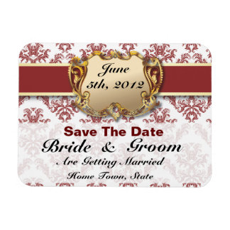 Deep Red & Gold - Save The Date Flex Magnet - 2