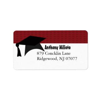 Deep Red  Graduation Cap Label