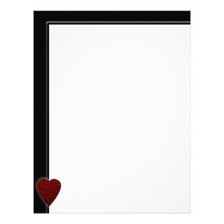 Deep Red Heart. Patterned Heart Design. Letterhead