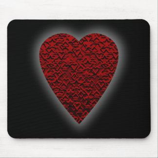 Deep Red Heart. Patterned Heart Design. Mouse Pad