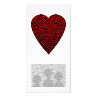 Deep Red Heart. Patterned Heart Design. Photo Card