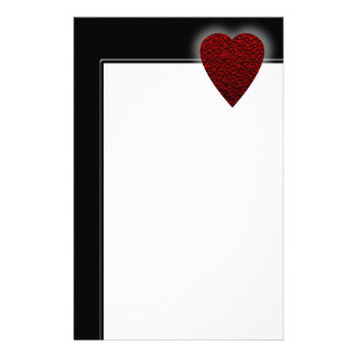 Deep Red Heart. Patterned Heart Design. Customized Stationery