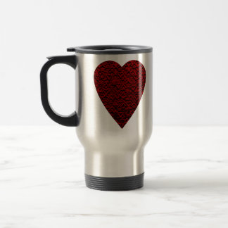 Deep Red Heart. Patterned Heart Design. Travel Mug