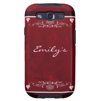 Deep red hearts with swirls samsung galaxy s3 covers