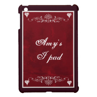 Deep red hearts with swirls iPad mini cases