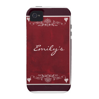Deep red hearts with swirls iPhone 4 case