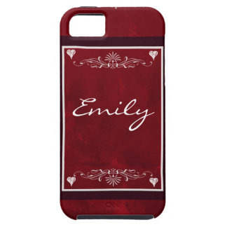 Deep red hearts with swirls iPhone 5 covers