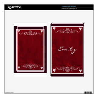 Deep red hearts with swirls kindle fire skins