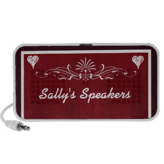Deep red hearts with swirls speakers