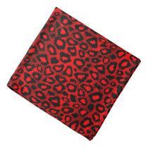 Deep Red Ikat Leopard Animal Print Design Bandana