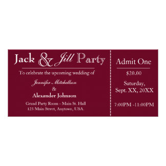 Deep Red Jack and Jill Shower Ticket Invitation