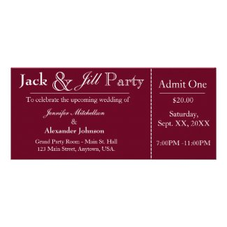 Deep Red Jack and Jill Shower Ticket Invitation Rack Card