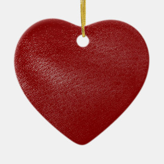 Deep Red Leather Look Ceramic Ornament