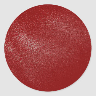 Deep Red Leather Look Classic Round Sticker