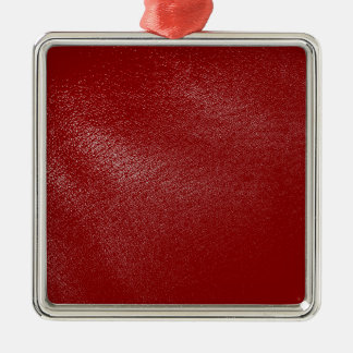 Deep Red Leather Look Metal Ornament