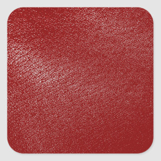 Deep Red Leather Look Square Sticker
