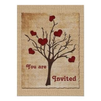 Deep Red Love Valentine Hearts Fruit Tree 5.5x7.5 Paper Invitation Card