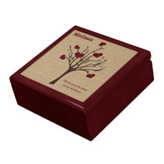 Deep Red Love Valentine Hearts Fruit Tree Keepsake Box