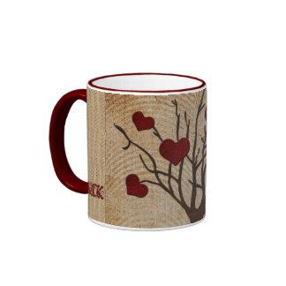 Deep Red Love Valentine Hearts Fruit Tree Ringer Coffee Mug