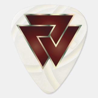 Deep Red Norse Valknut Symbol - Guitar Pic Guitar Pick