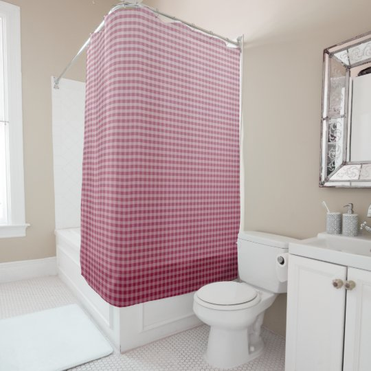 Deep Red Ombre Gingham Shower Curtain   Zazzle.com