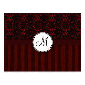 Deep Red on Black Damask and Stripes with Monogram Postcards