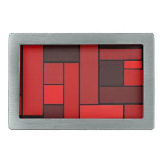 Deep Red Parquet Design Belt Buckle
