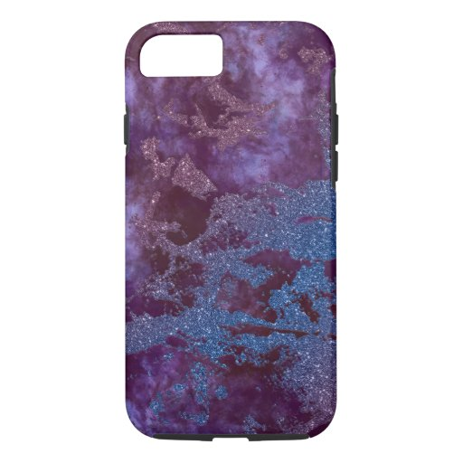 Deep red purple blue ombre glitter marble iPhone 8/7 case