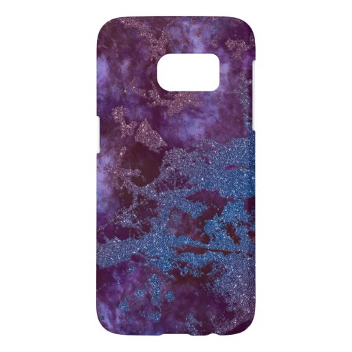 Deep red purple blue ombre glitter marble samsung galaxy s7 case