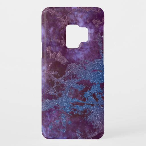 Deep red purple blue ombre glitter marble Case-Mate samsung galaxy s9 case