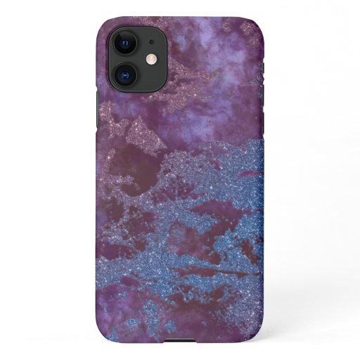 Deep red purple blue ombre glitter marble iPhone 11 case