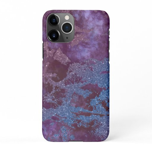 Deep red purple blue ombre glitter marble iPhone 11Pro case