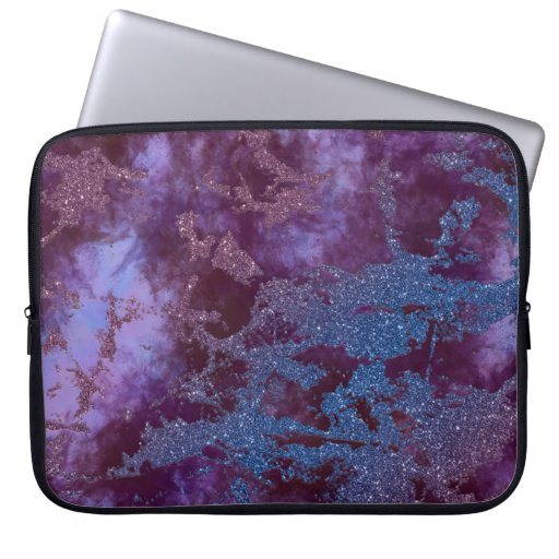 Deep red purple blue ombre glitter marble laptop sleeve