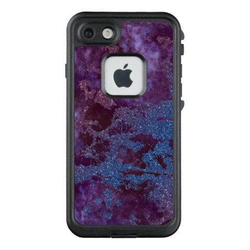 Deep red purple blue ombre glitter marble LifeProof FRĒ iPhone 7 case