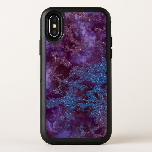 Deep red purple blue ombre glitter marble OtterBox symmetry iPhone XS case