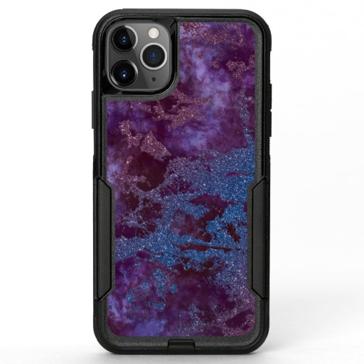 Deep red purple blue ombre glitter marble OtterBox commuter iPhone 11 pro max case