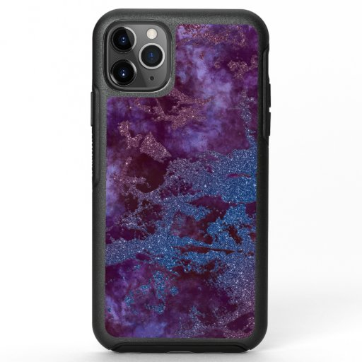 Deep red purple blue ombre glitter marble OtterBox symmetry iPhone 11 pro max case