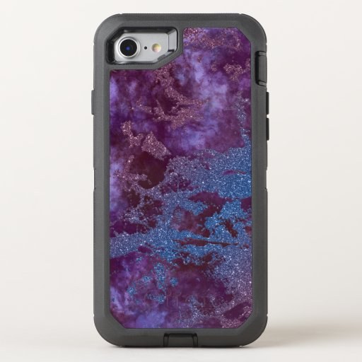 Deep red purple blue ombre glitter marble OtterBox defender iPhone SE/8/7 case